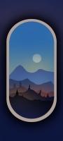 電車の窓から見た月と山 イラスト Redmi Note 9S Androidスマホ壁紙・待ち受け