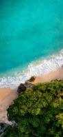 上から撮影したエメラルドグリーンの海と砂浜 Redmi 9T Android スマホ壁紙・待ち受け