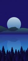 夜 満月と湖のイラスト Galaxy A30 Android 壁紙・待ち受け