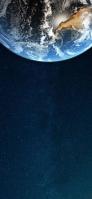 見切れいている地球と青い星空 Google Pixel 5 Android 壁紙・待ち受け