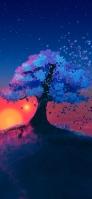 青い星空と青い木のイラスト Galaxy A30 Android 壁紙・待ち受け